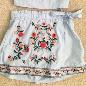 Floral Stitched Skort
